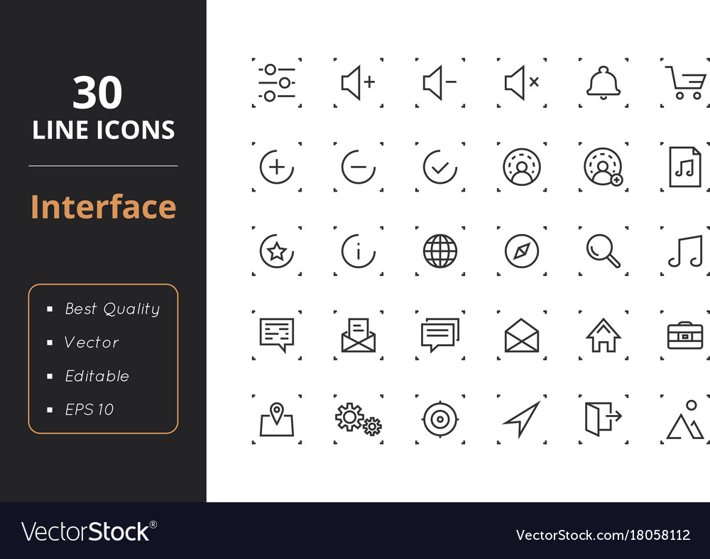 30 interface line icons