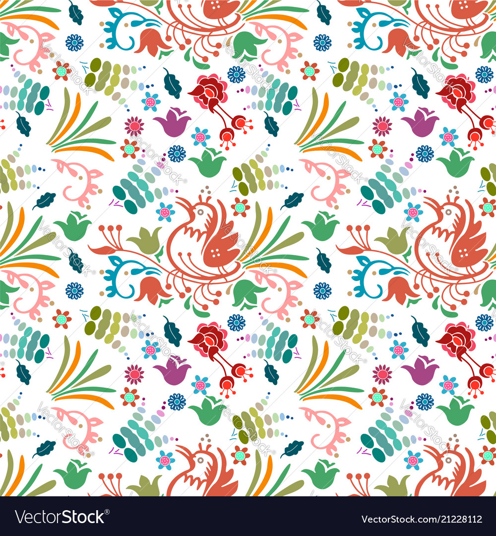 Beautiful bird floral colorful pattern background