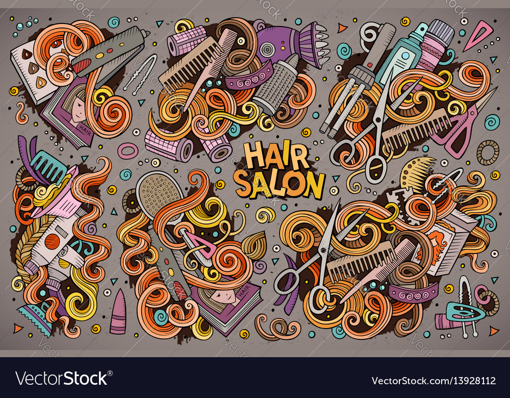 Cartoon set of hair salon theme doodles vector image