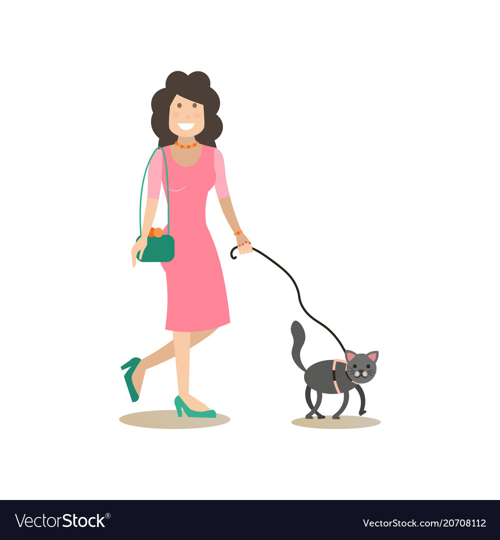 Cat owner female with her pet flat