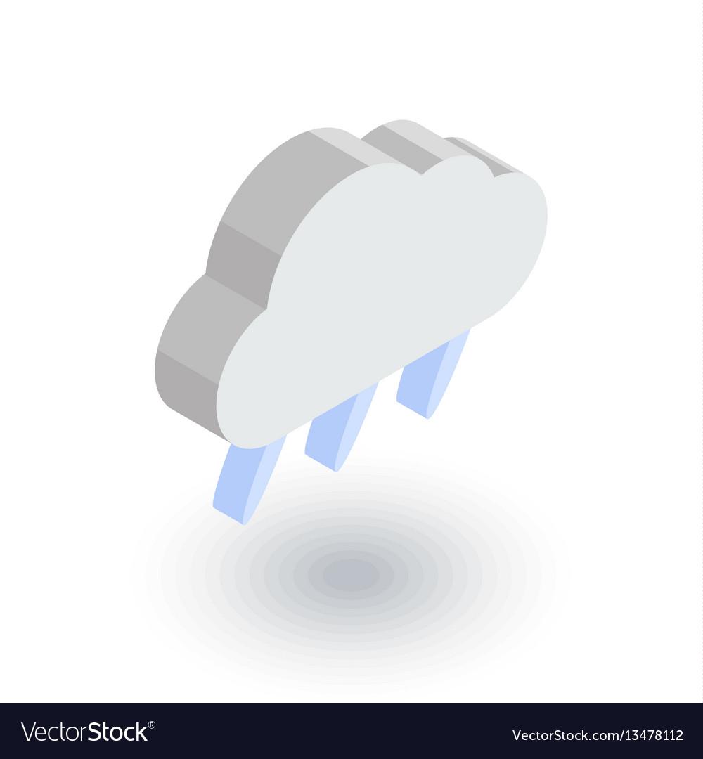 Cloud rain weather isometric flat icon 3d