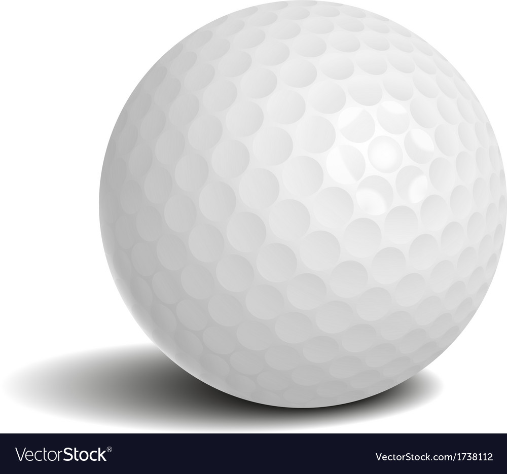 Golf ball with shadow vector image
