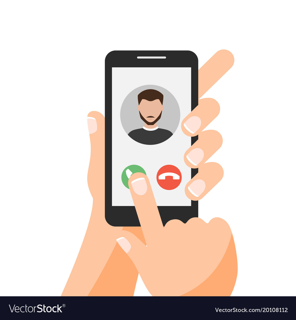 Hand holding smartphone with one finger over vector image