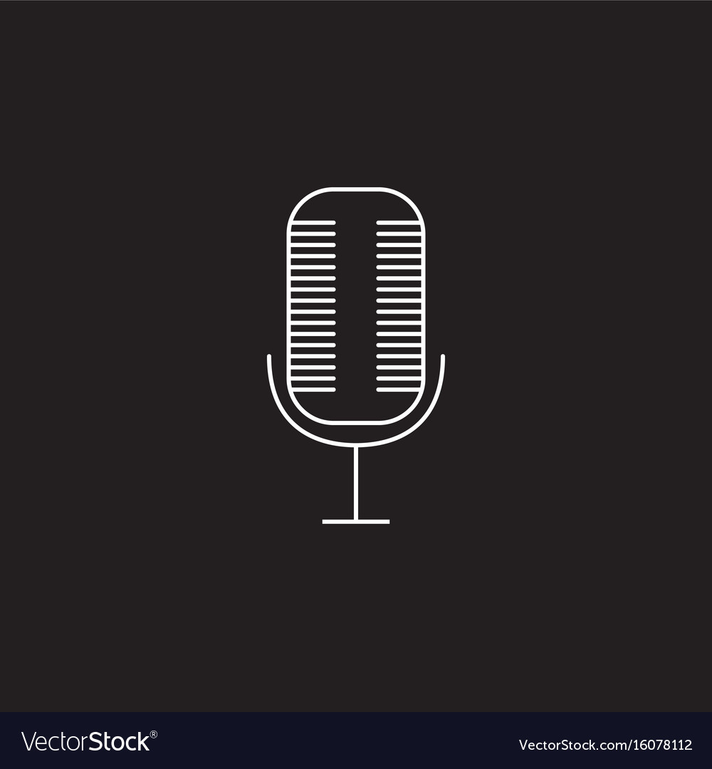 Microphone line icon outline logo