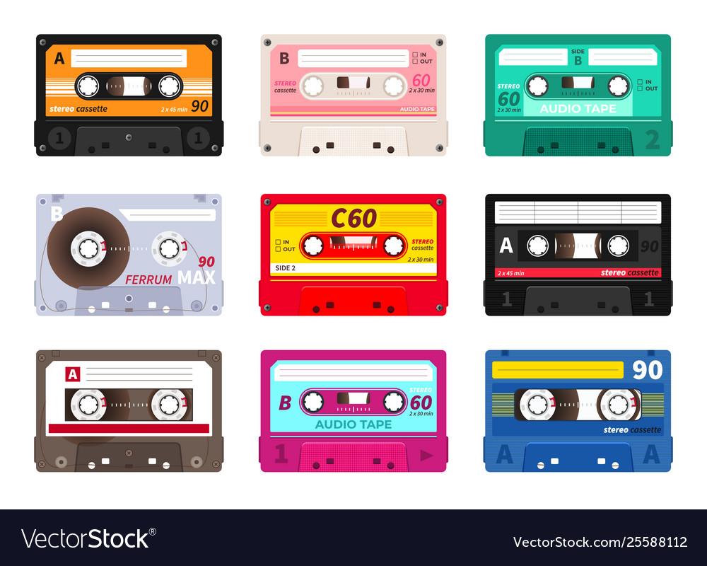 Retro cassettes vintage 1980s music tape dj rave