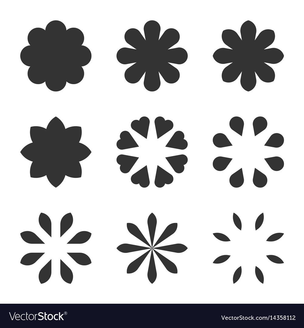 Set of black flower design symbols flowers