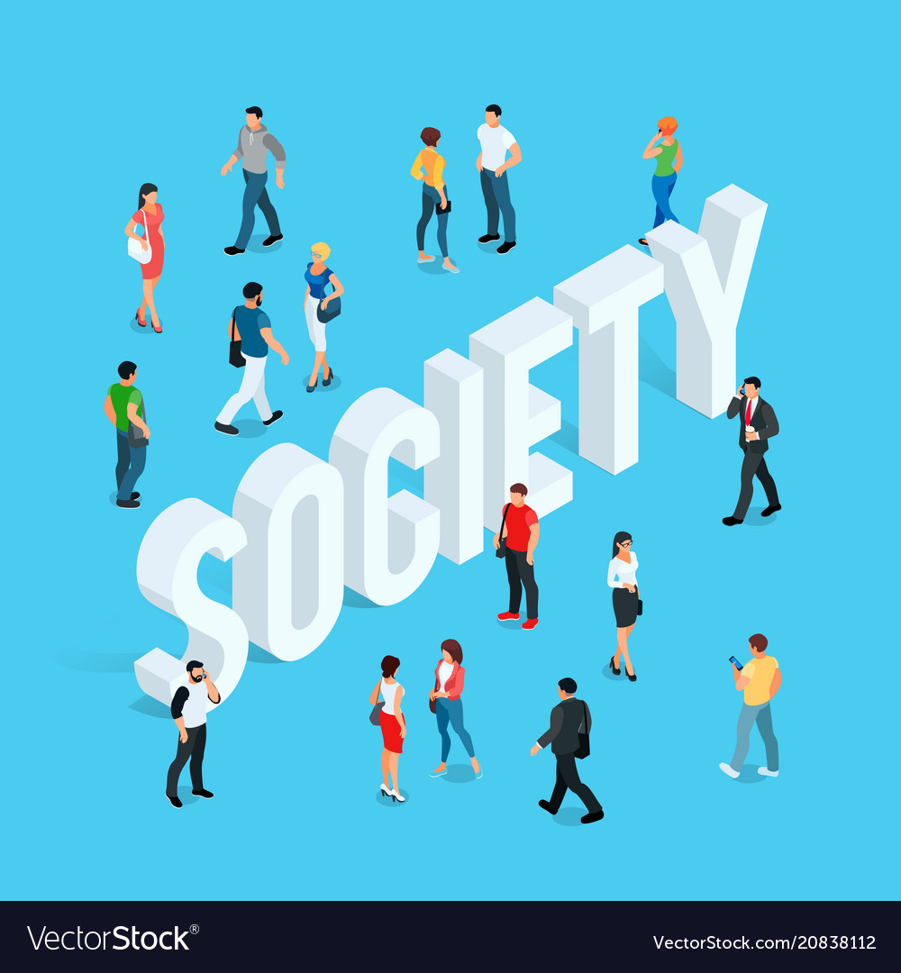 Society isometric social concept