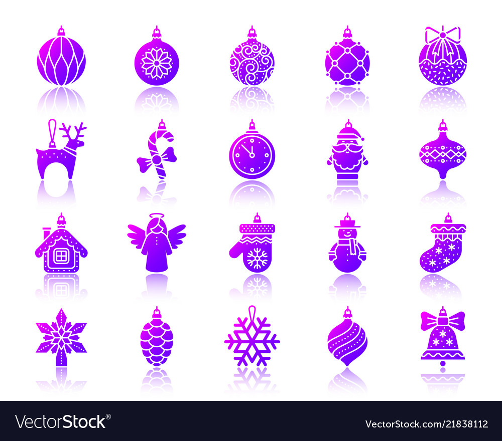 Tree decorations simple gradient icons set