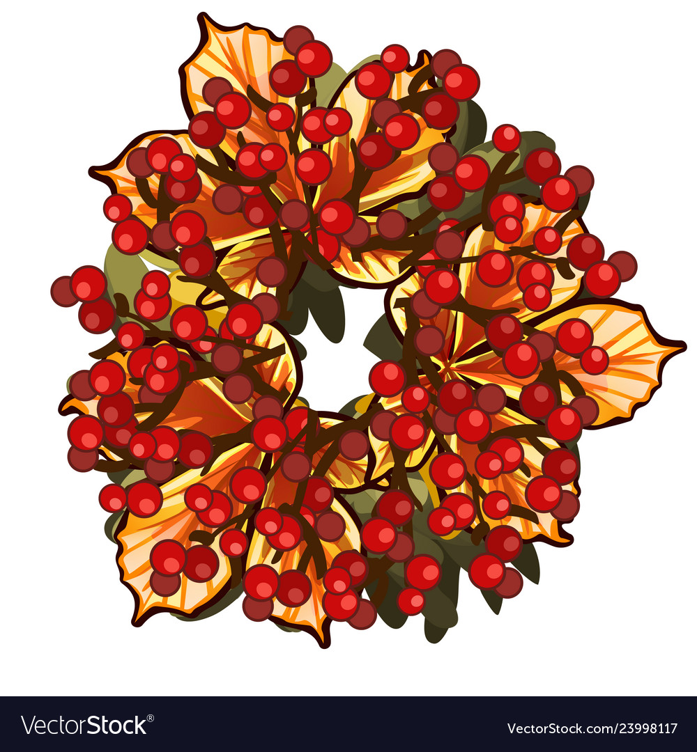 A decorative wreath of dried leaves of chestnut
