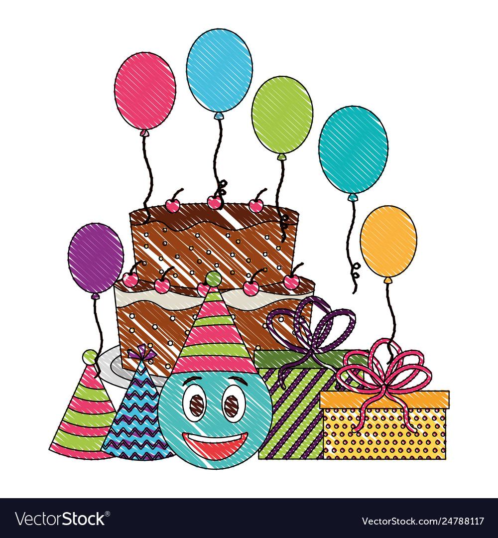 Terrific Birthday Cake Emoticon Face Ts Balloons And Vector Image Funny Birthday Cards Online Amentibdeldamsfinfo