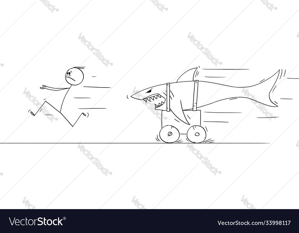 Cartoon man running in fear and panic from