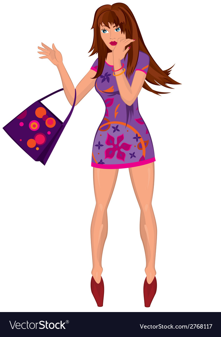 Cartoon young woman in mini purple dress with bag vector image