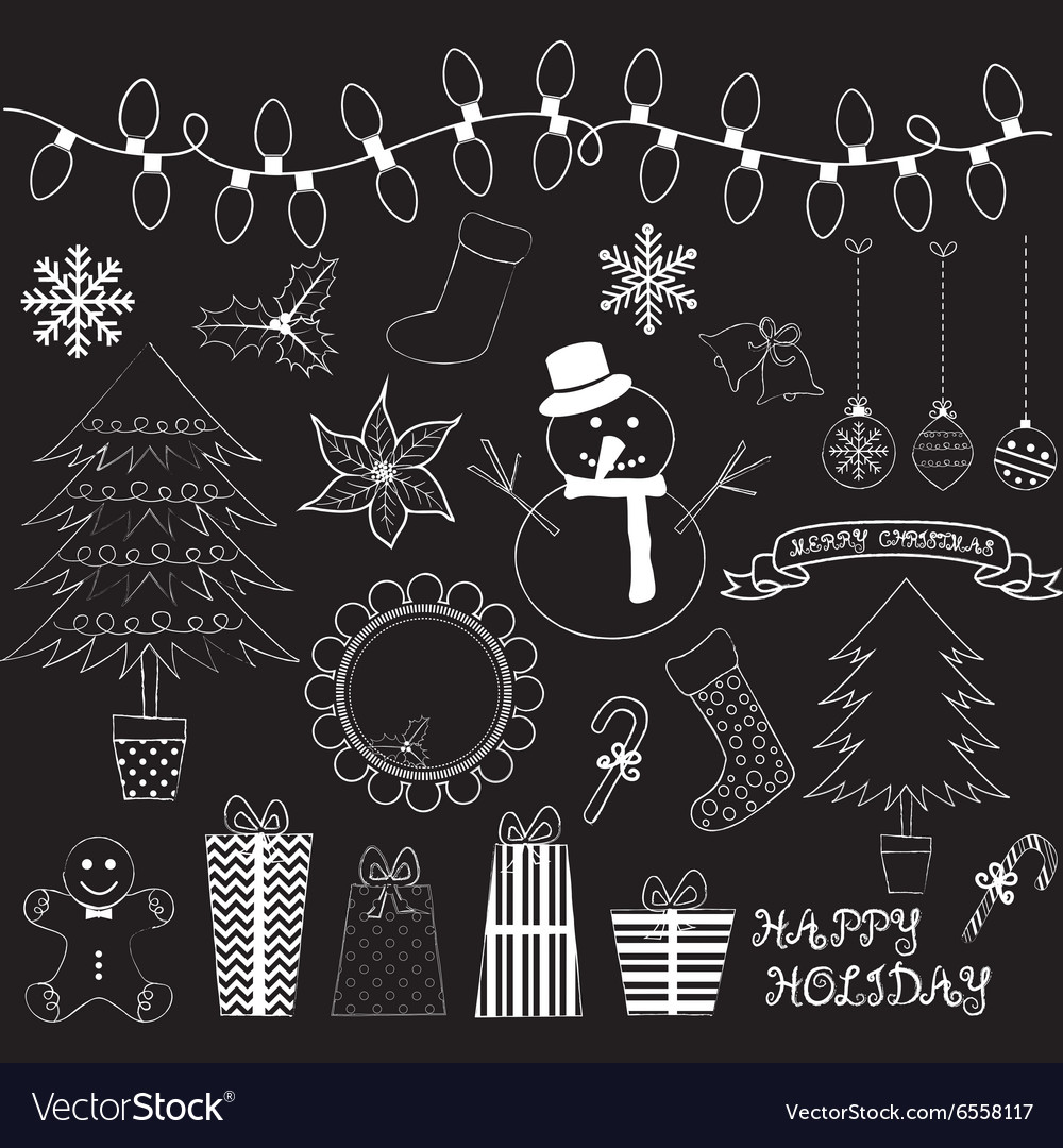 Chalkboard Christmas Doodles Collections