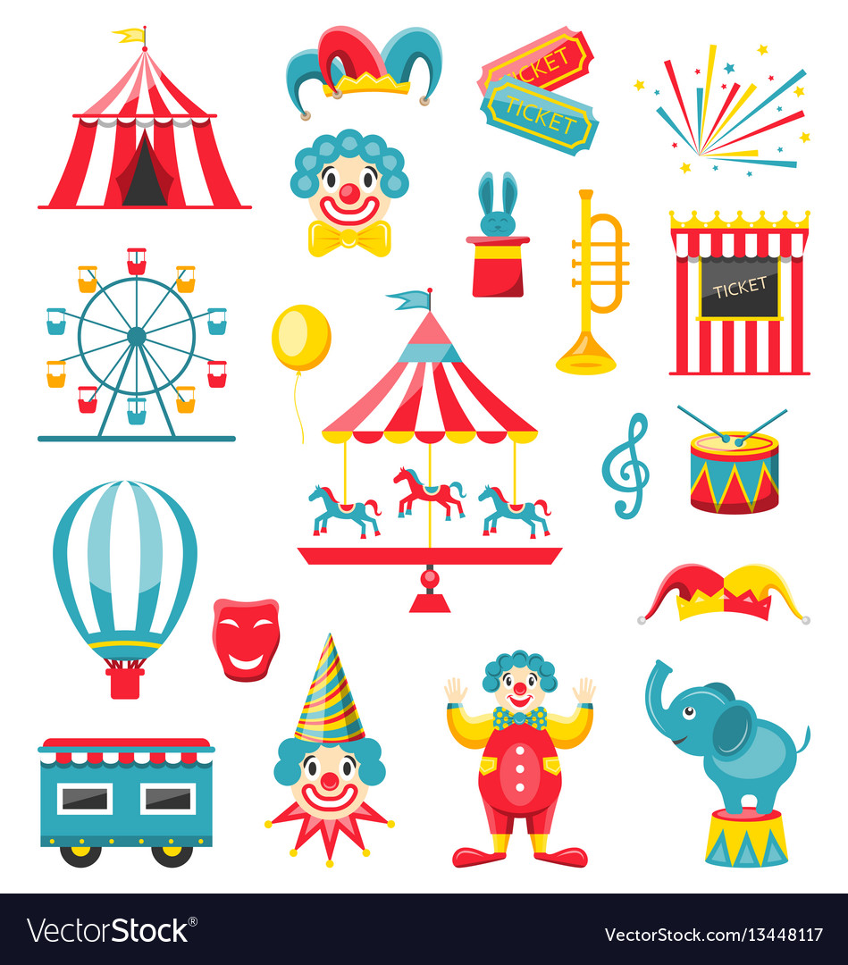 Circus and carnival icons isolated on white