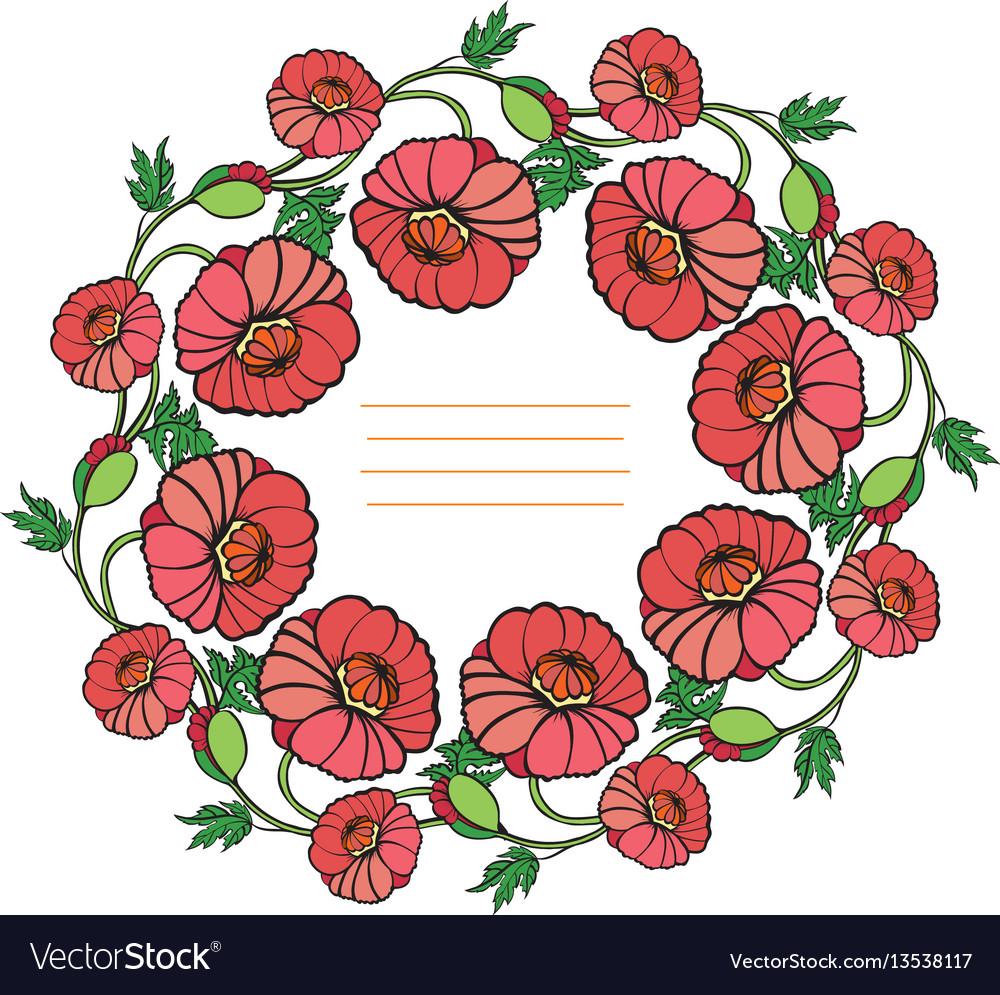 Decorative wreath of poppies