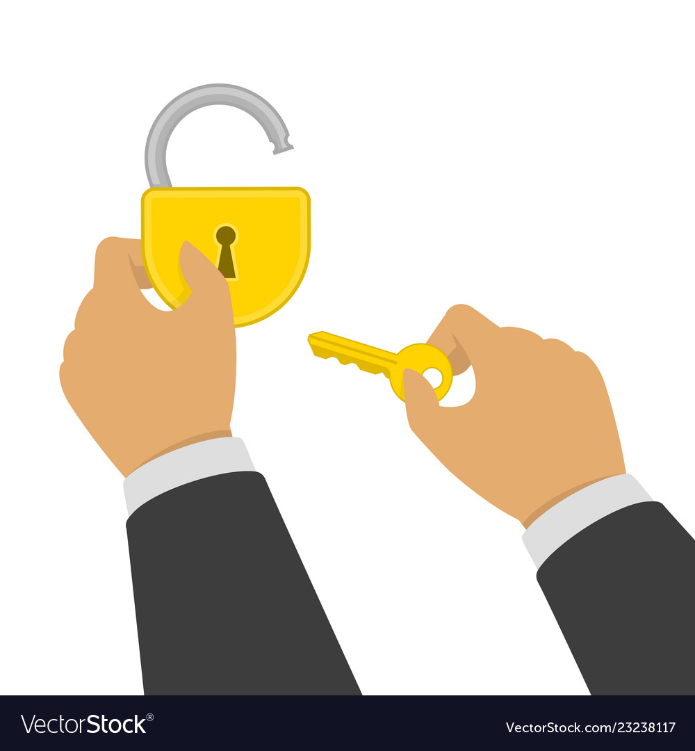 Hand opens lock