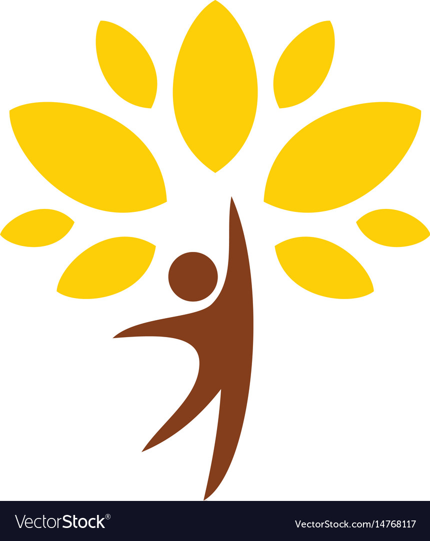 Happy man tree organic logo vector image