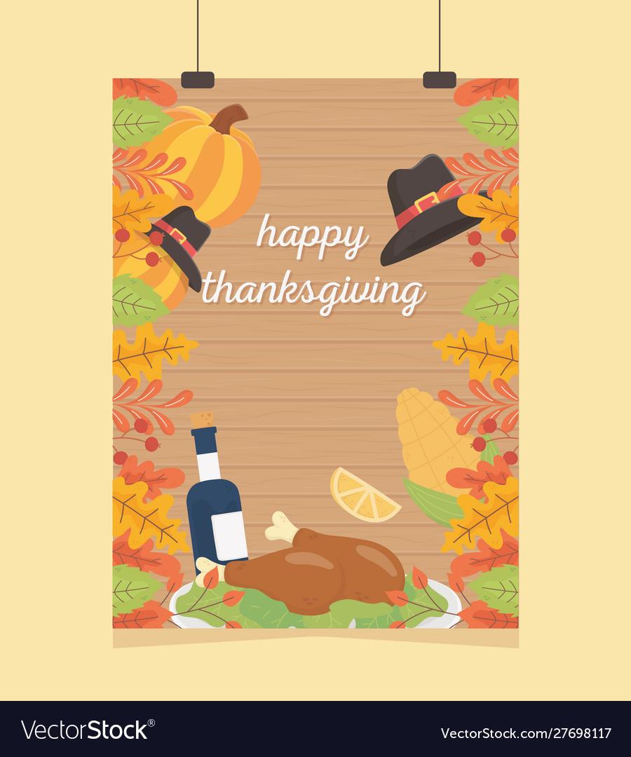 Happy thanksgiving celebration poster hanging