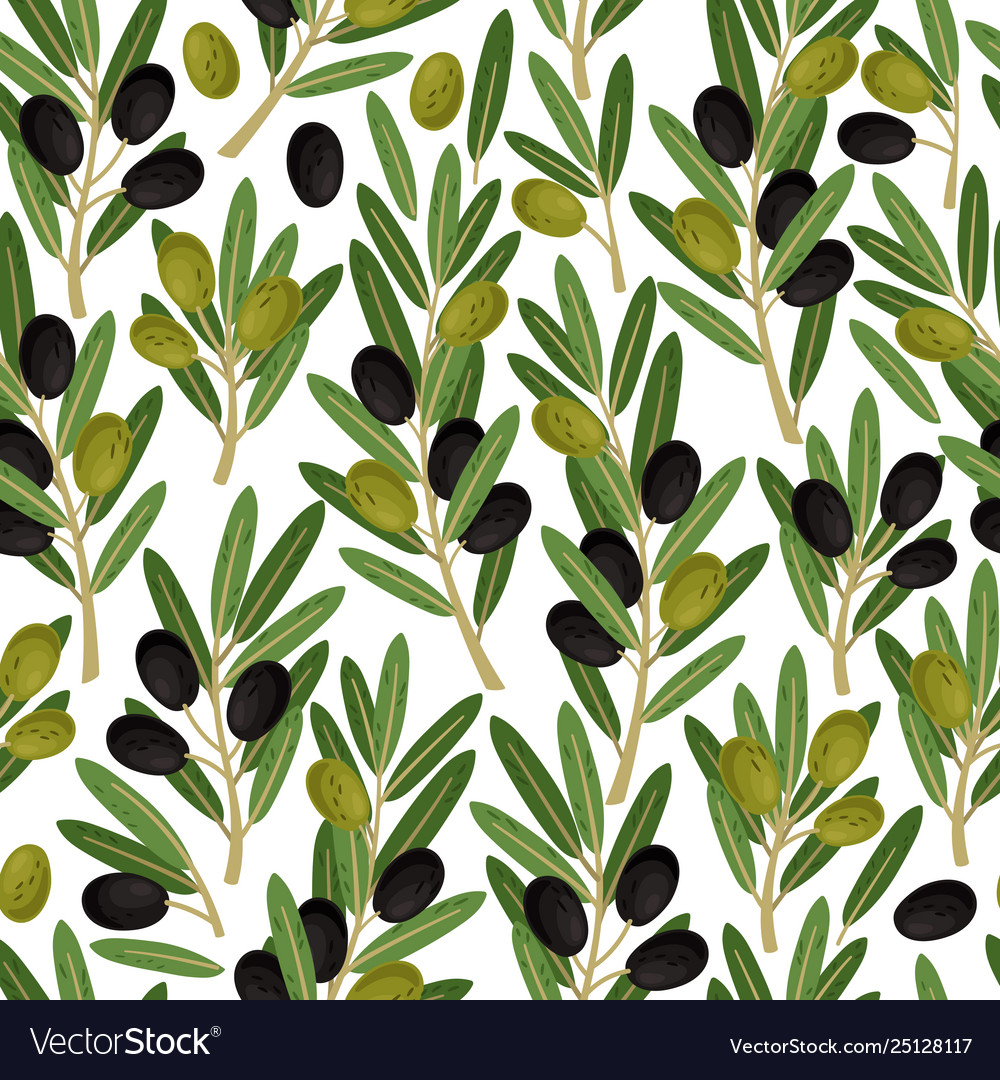 Olives seamless pattern olive branches with