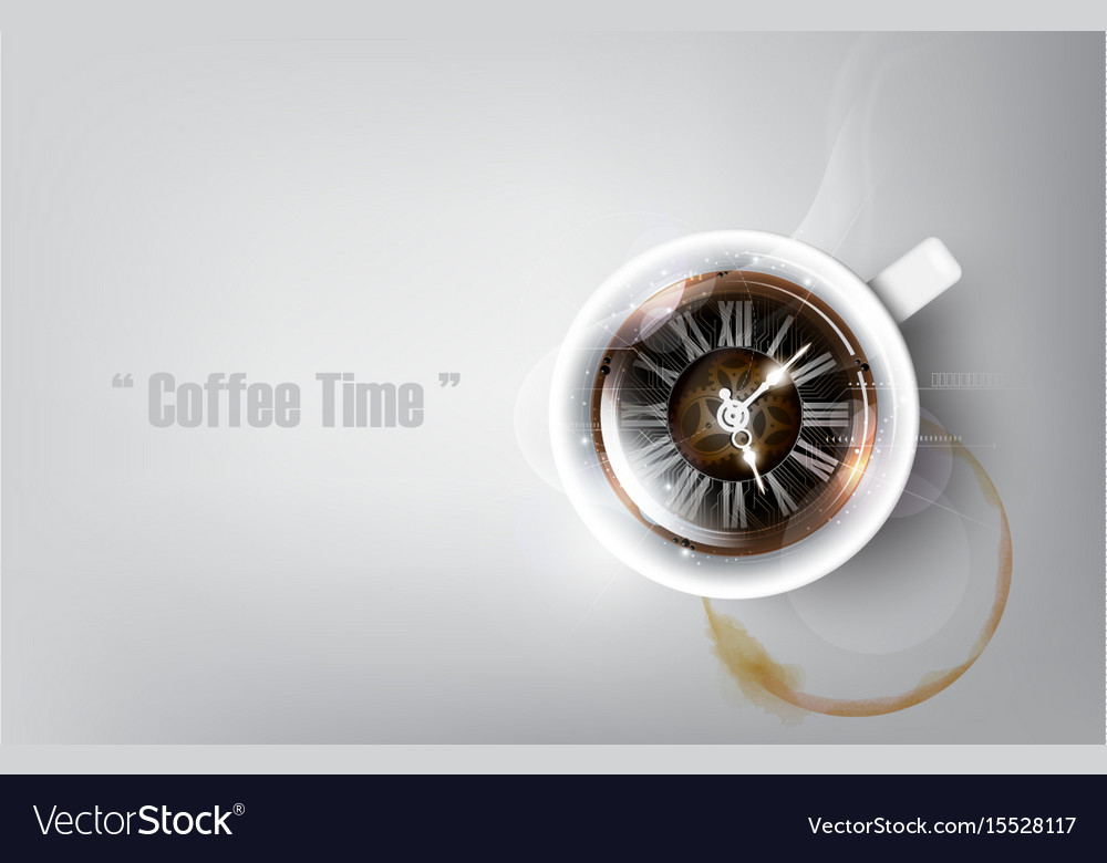 Realistic cup of black coffee coffee time concept