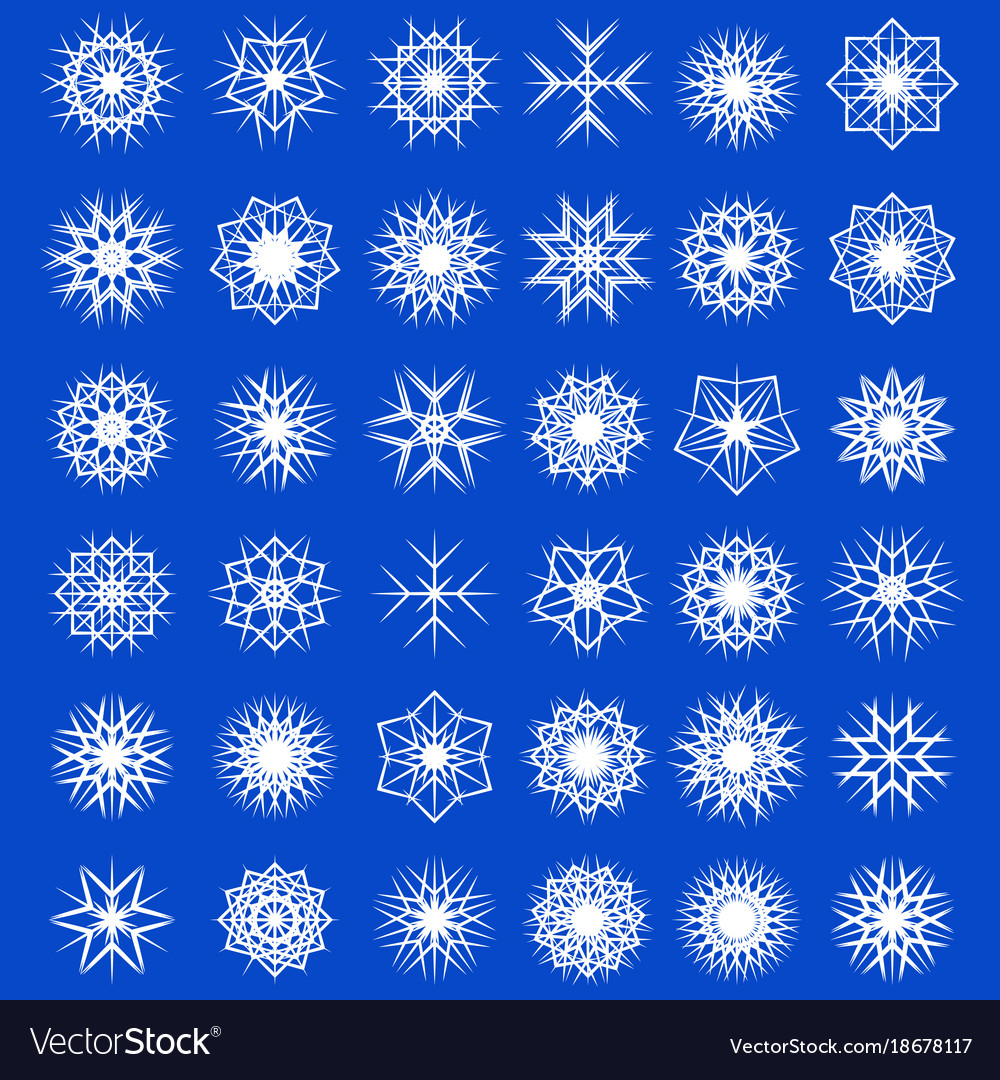 Set winter snowflakes decorations snowfall