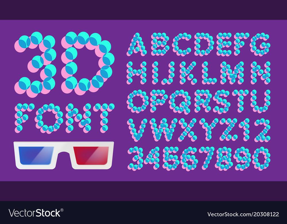 3d font pixel digital holographic font