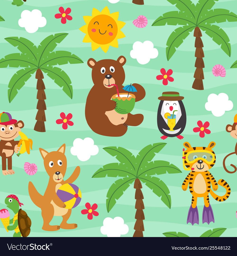 Basic rgbseamless pattern with resting animals