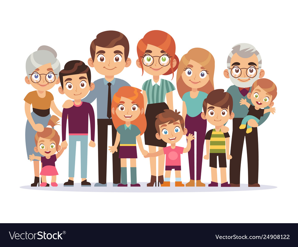 Big family portrait happy people character