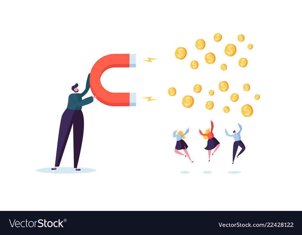 Businessman character attracting money with magnet