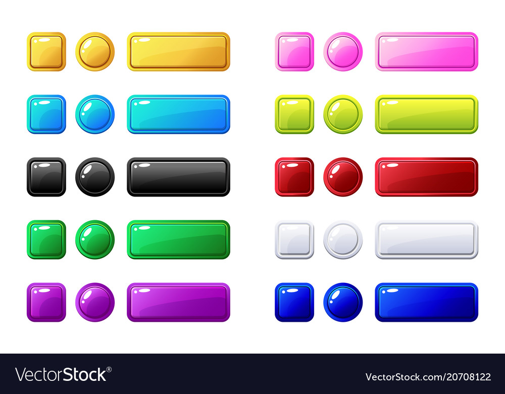 Colored buttons big set for game or web design
