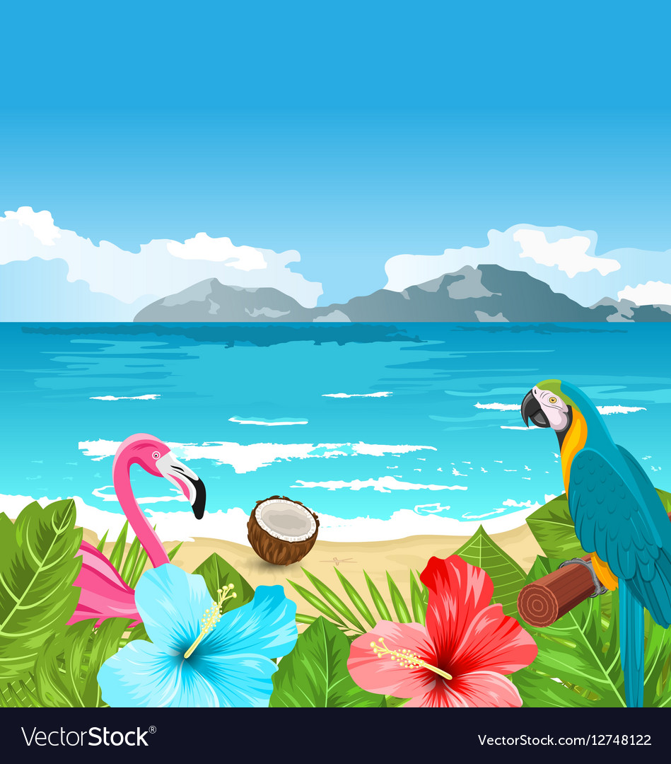 Exotic Wallpaper With Parrot Ara Pink Flamingo Vector Image