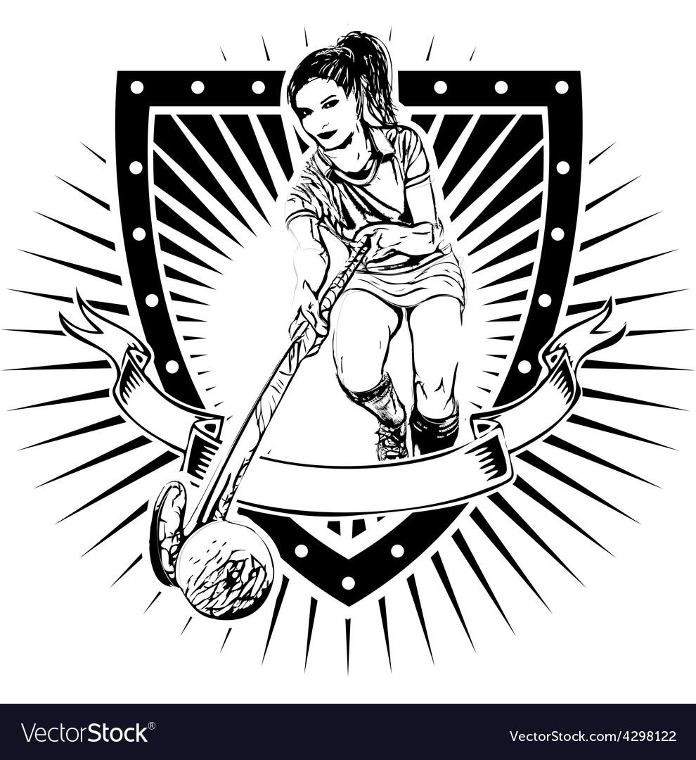 Field hockey shield vector image