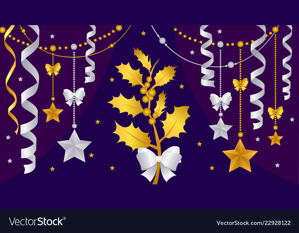 Gold christmas decorations on a purple background