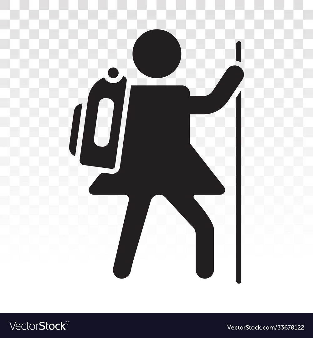 Hiking mountain climber flat icon for apps or