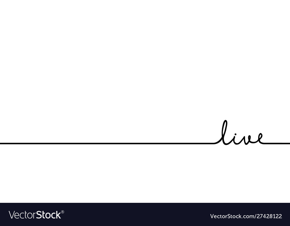 Live - continuous one black line with word