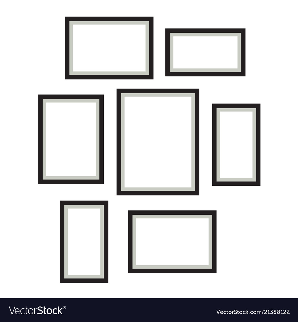 photo frame template set hanging on wall vector image