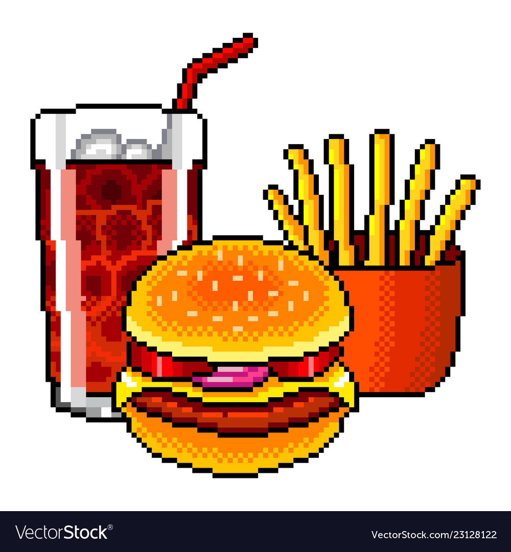 Pixel fast food cola burger french fries detailed