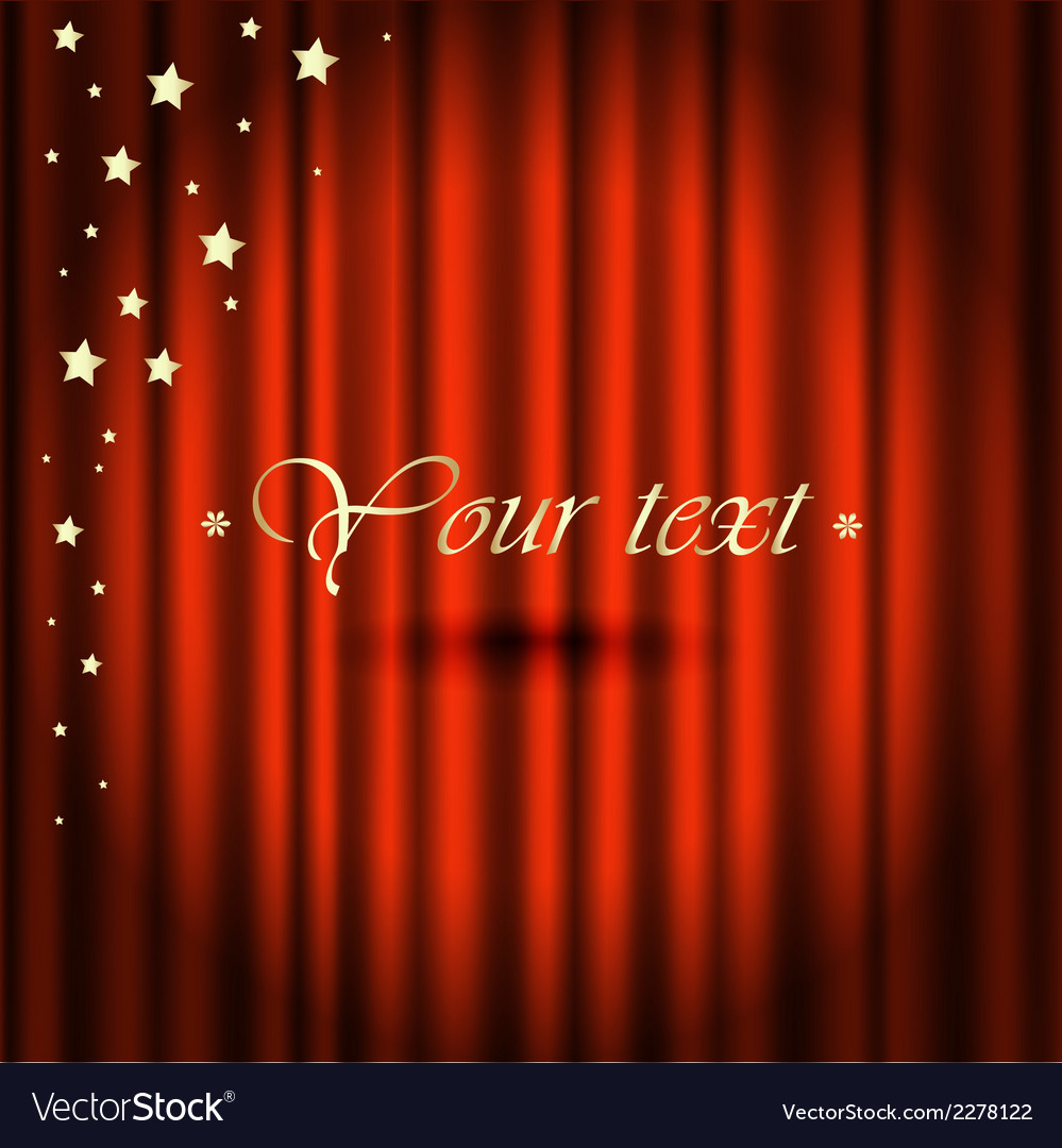 Red curtains gold star vector image