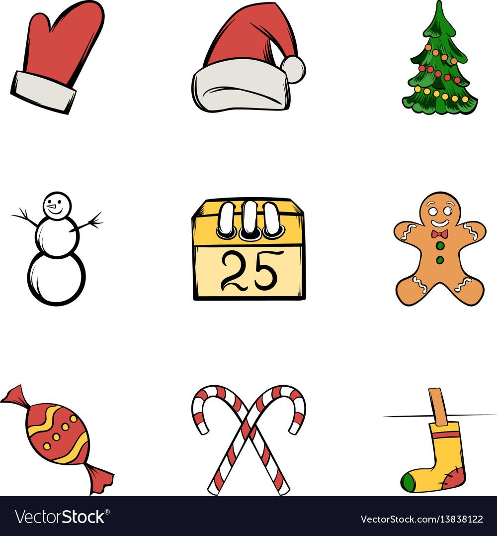 Santa claus icons set cartoon style vector image