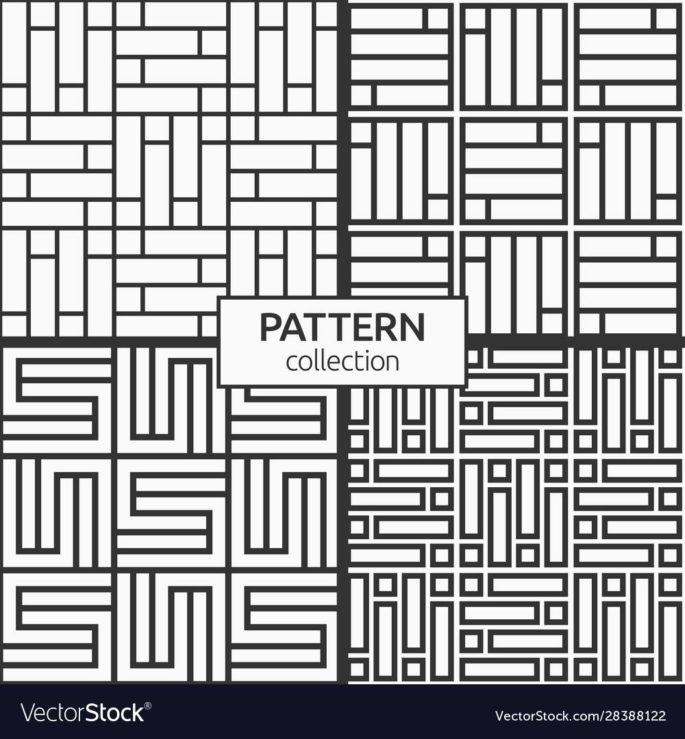 Set four korean or chinese seamless patterns