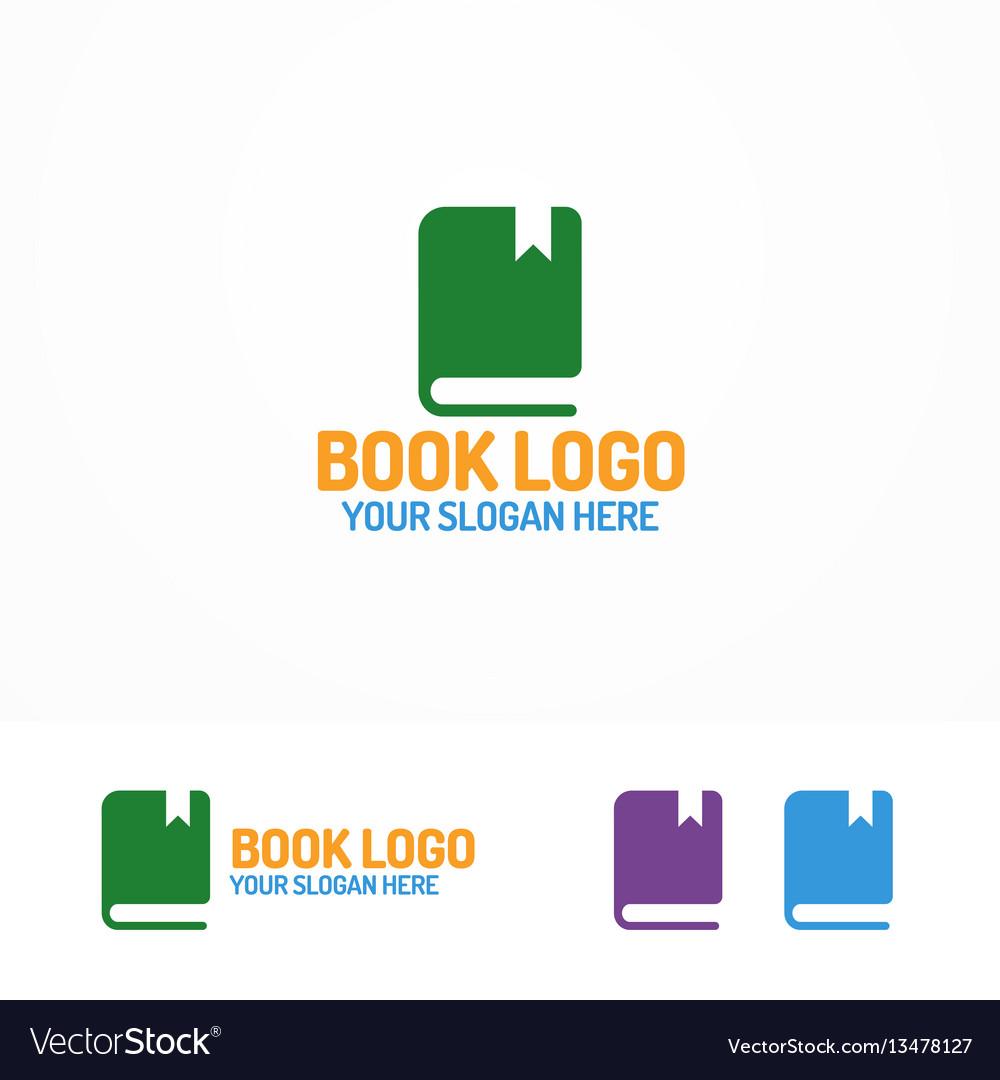Book logo set different color vector image