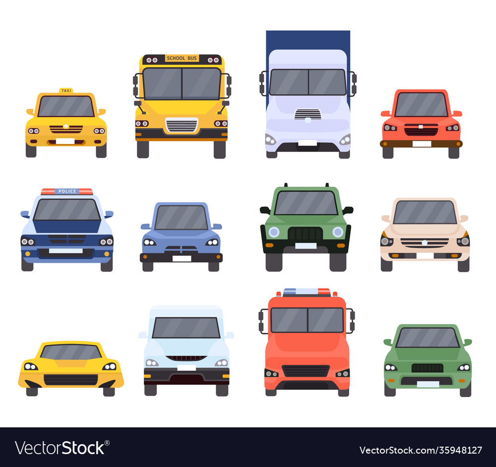 Cars front view flat urban vehicles taxi police