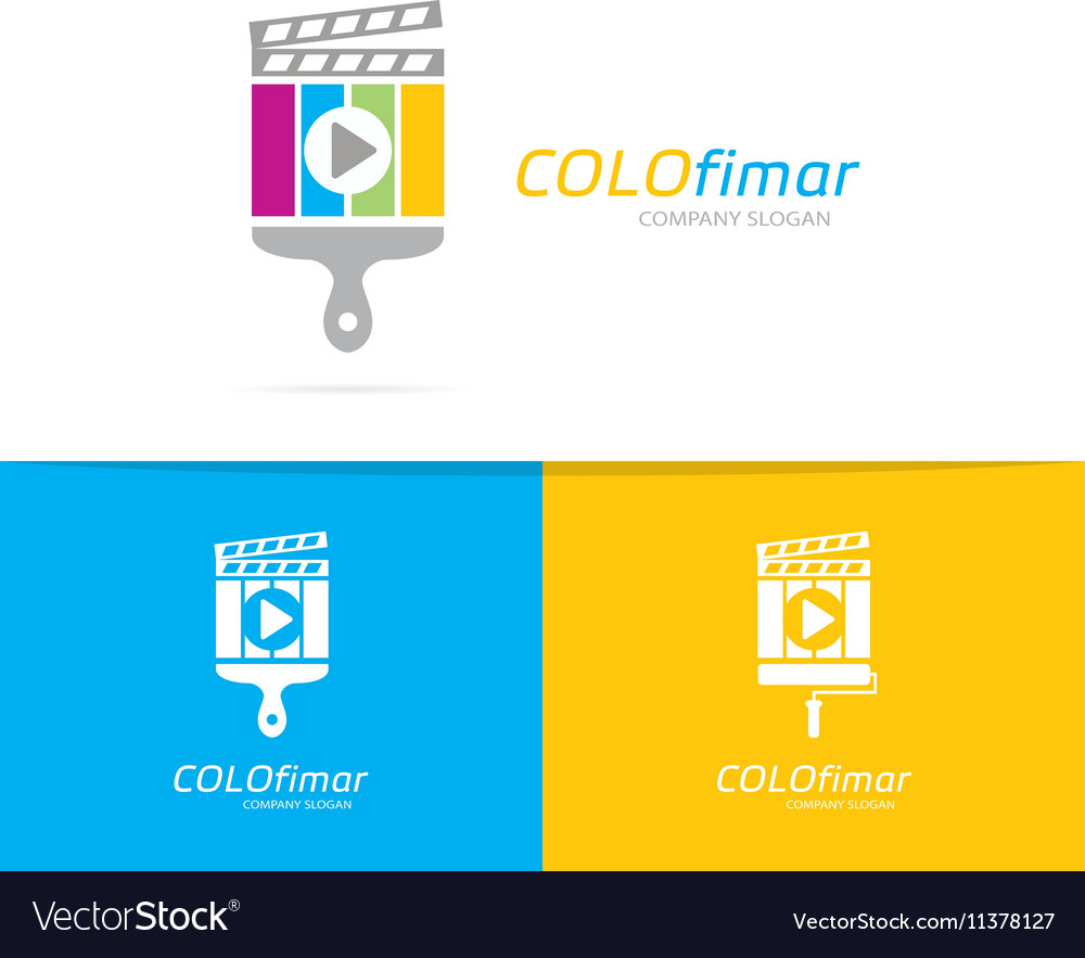 Clapperboard and brush logo combination vector image