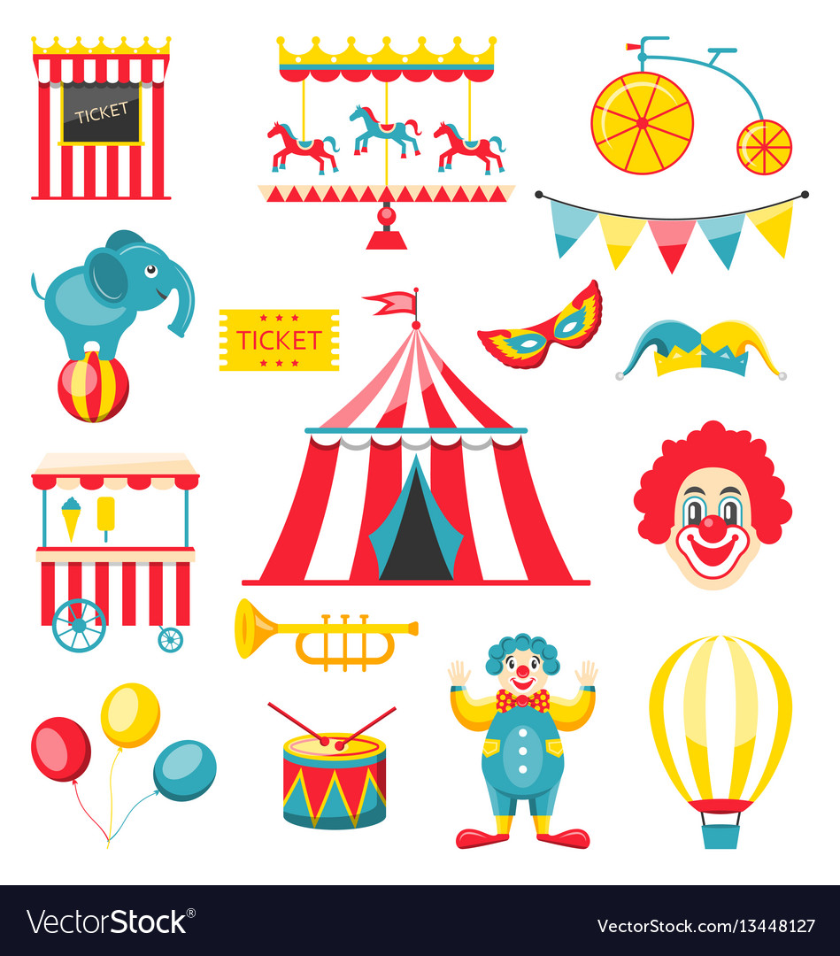 Collection colorful elements for circus and