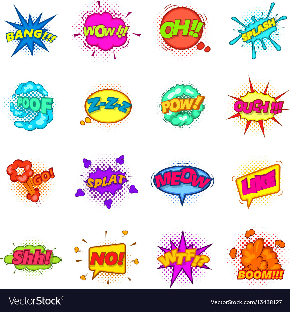 Comic sound cloud set icons set cartoon style