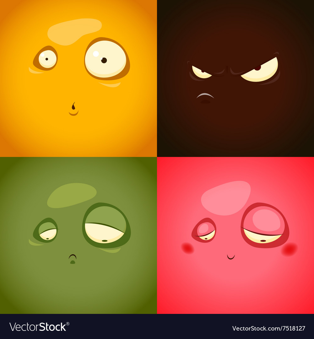 Cute cartoon emotions anger surprise sadness