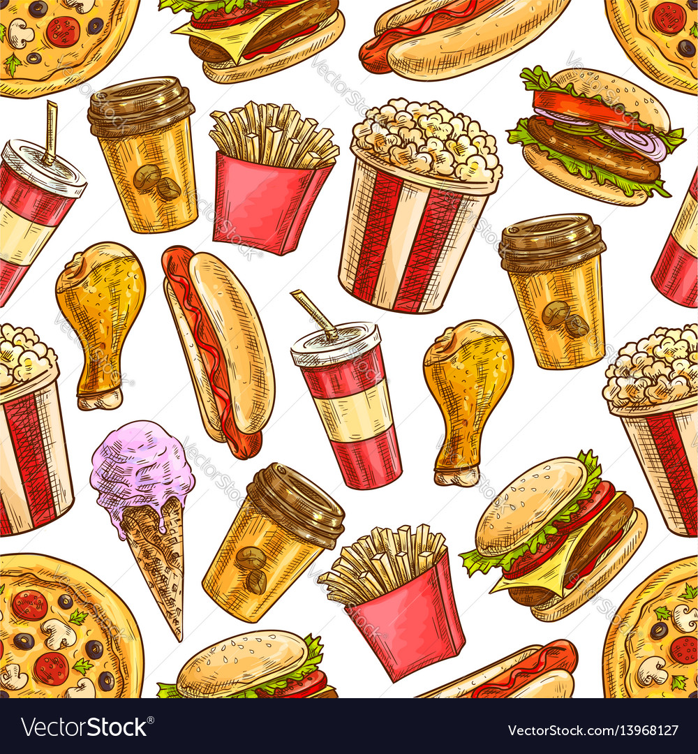Fast food sketch icons seamless pattern