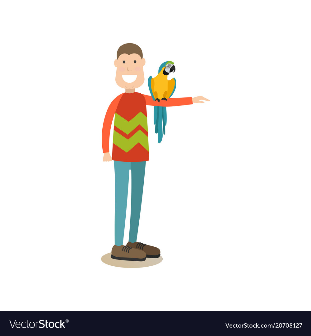 Parrot owner male with his pet flat