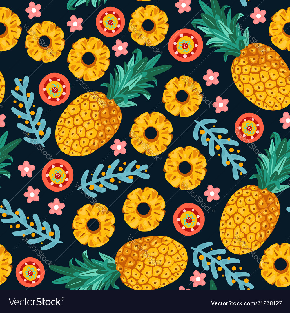 Pineapple seamless patterntropical fruit