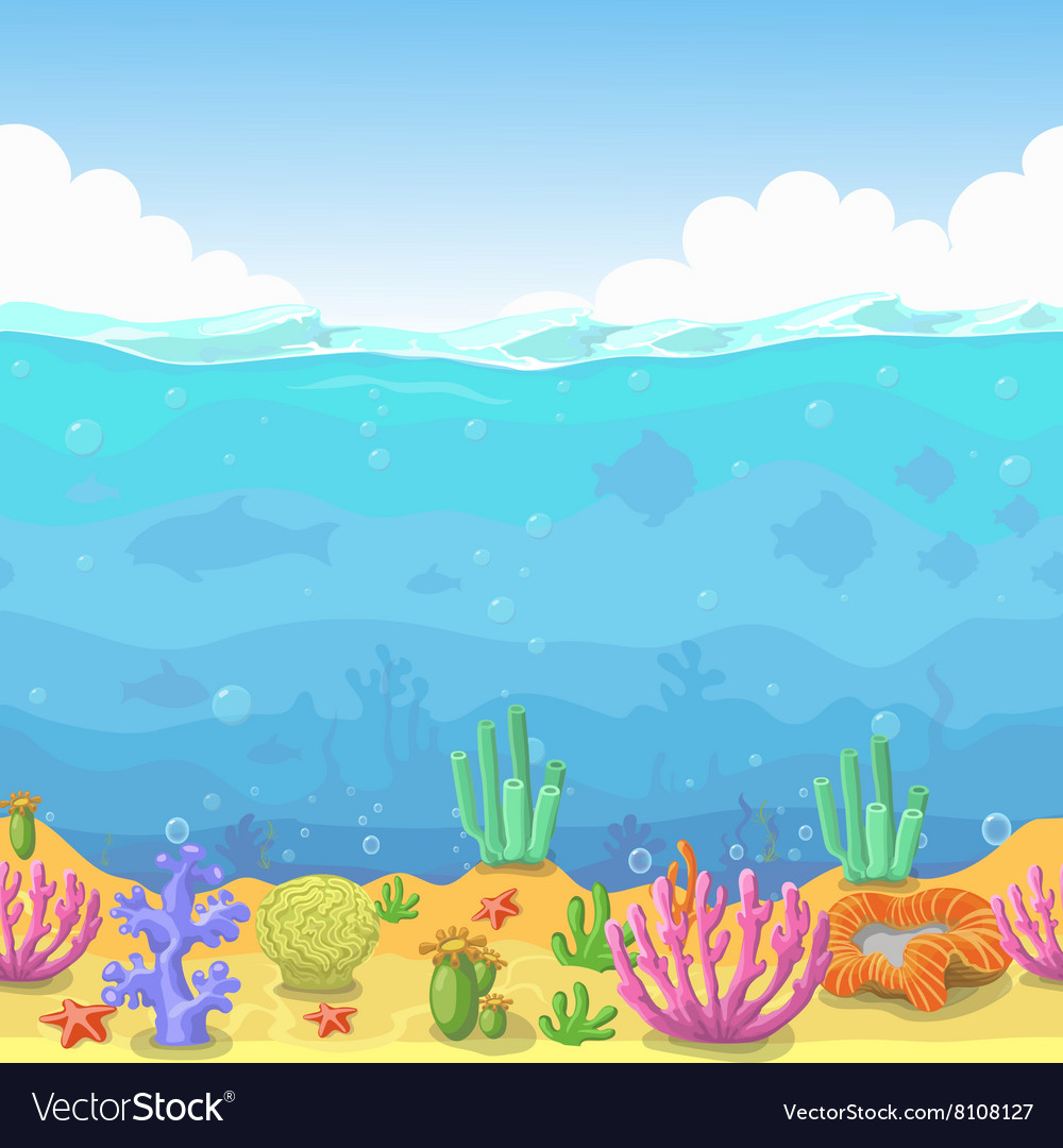 Seamless underwater landscape in cartoon style